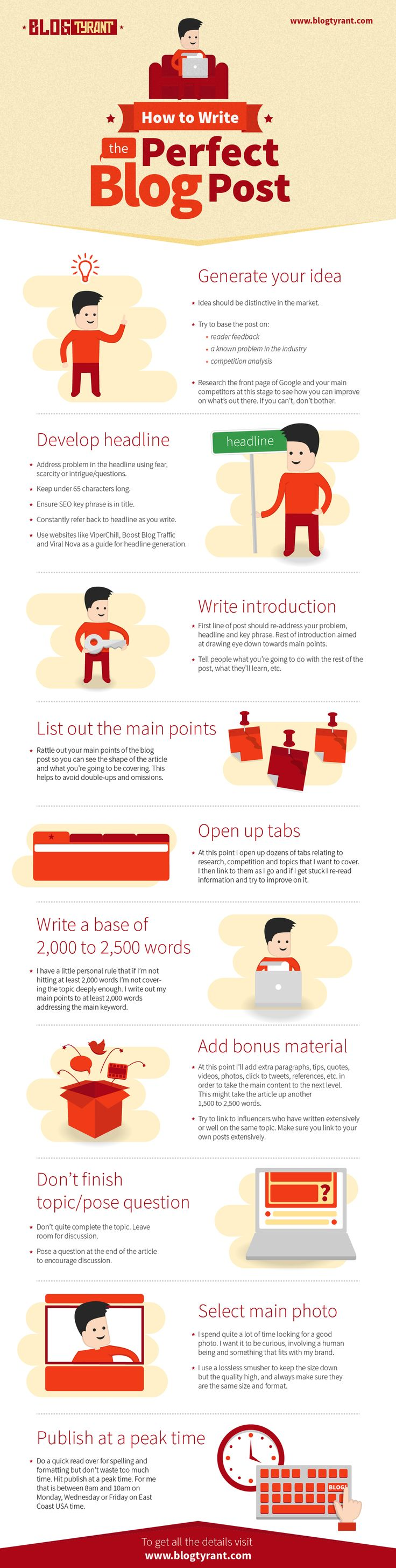 The Perfect Blog Post. Great tips from the BlogTyrant - I love his stuff. Good infographic on how to systematically write your blog article.