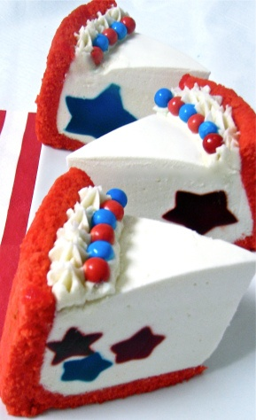 "Independence Day Cake - Red Blue Stars, from ""Pumpercake"" - uses a lime-flavored filling and star-shaped jello. Don't need to color sponge cake red. Can garnish with blueberries and raspberries."