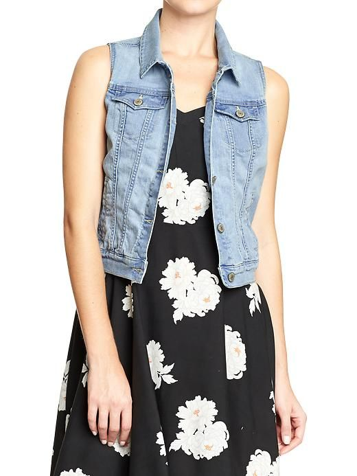 Sleeveless Denim Vest from Old Navy - we love the idea of layering with a denim vest over a #babybump! #maternity #style: Vest Products, Summer Fashion, Women 39 Denim, Denim Vests, Navy Denim, Flowers Prints, Women Denim, Old Navy Women, The Dresses