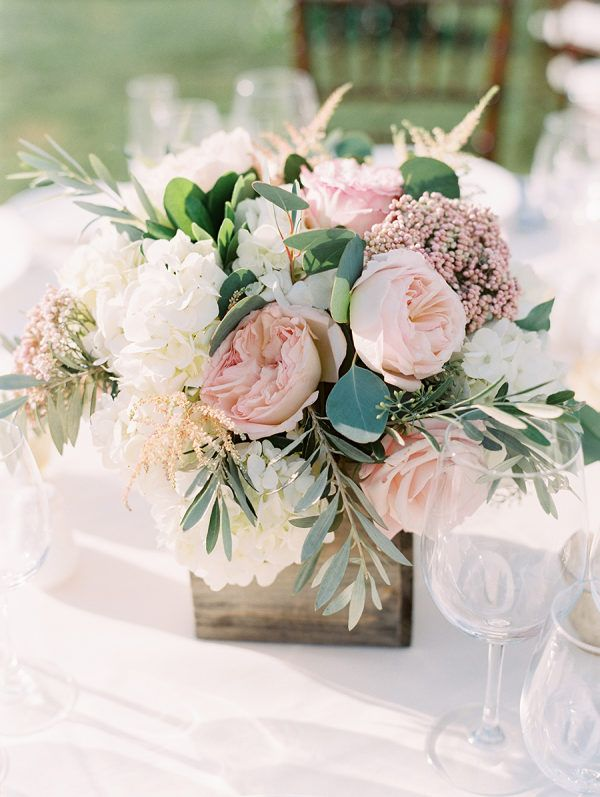 A Seaside Affair Where The Bride And Groom First Vacationed Pink Wedding Centerpieces Blush Pink Wedding Centerpieces Blush Wedding Centerpieces