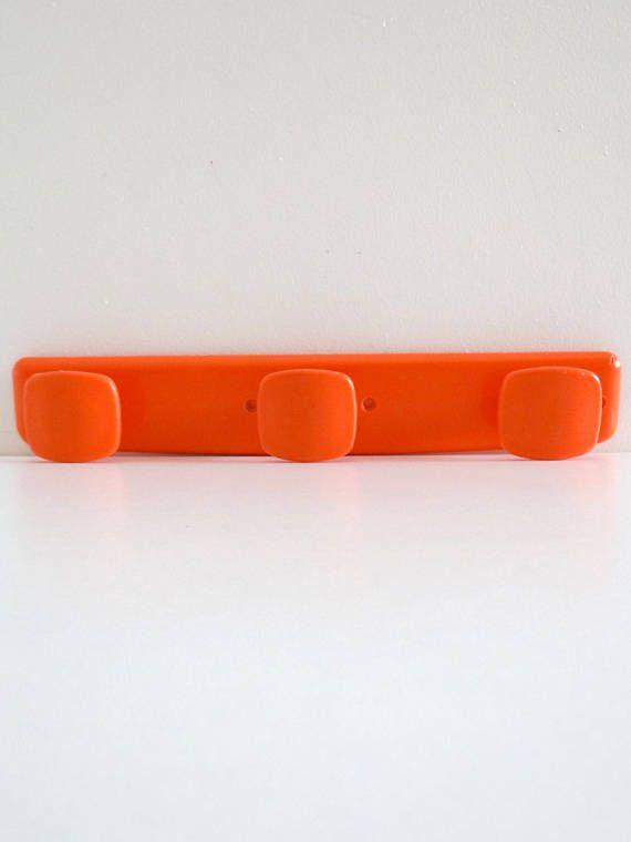 Vintage 1970s Orange Plastic Hook  French Retro Seventies