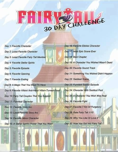 Fairy Tail 30 day challenge  I plan on posting each day's challenge on my Facebook, Lucy Heartfilia. Join me~?