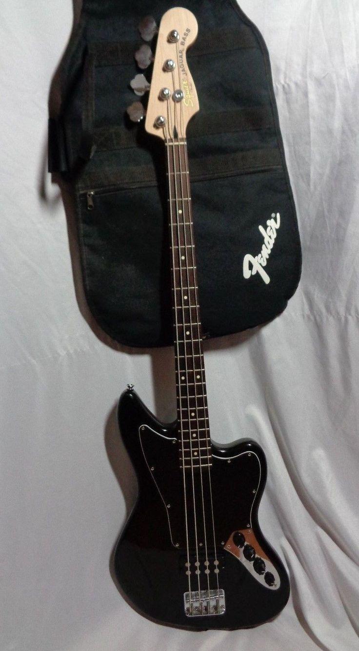 fender squier jaguar electric bass guitar 4 string full scale black w/ gig bag