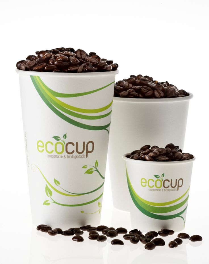 Our EcoCups are made from paper board sourced from managed plantations; and lined with a thin layer of PLA (polylactic acid - like plastic but made from plants).  If you have to go disposable for your takeaway coffee, make sure it is in an EcoCup!