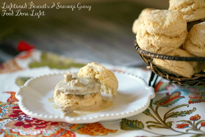 Enjoy your favorite breakfast without all the fat.  These are lightened biscuits with chicken sausage and gravy.  You won't blow your diet with this healthy breakfast.