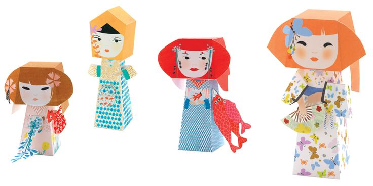 Kokeshi babák origami készlet Djeco | Pandatanoda