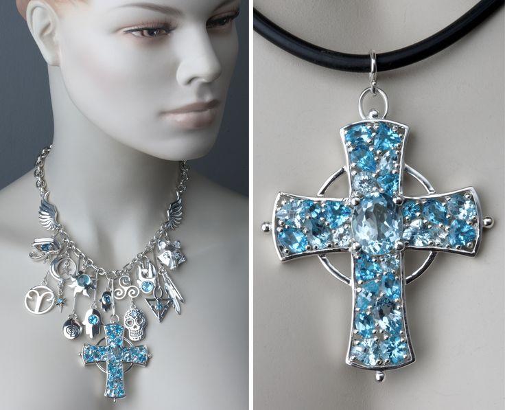 Bespoke Talisman necklace. Custom designed charms in sterling silver set with blue topaz. © Kristen Malan 2015