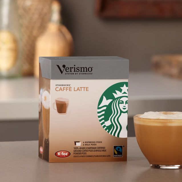 Three+boxes+each+of+6+Espresso+Verismo<sup>®</sup>+Pods+and+6+Milk+Verismo<sup>®</sup>+Pods+to+make+caffè+lattes.+For+exclusive+use+with+the+Verismo<sup>®</sup>+System.