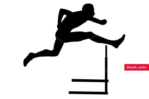 Sprinter Runner Men Running Hurdles Black Silhouette Black Silhouette Man Running Hurdles