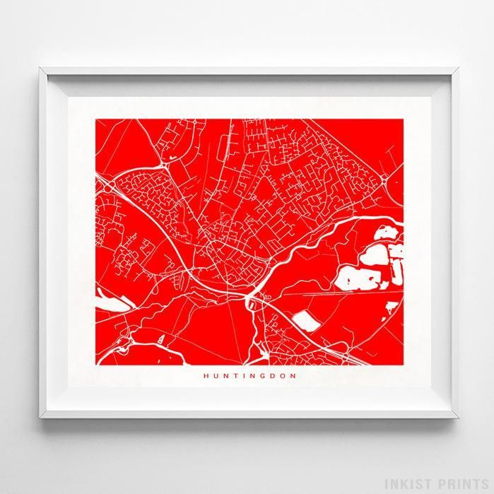 Huntingdon England Street Map Wall Art Poster. 70 Color Options. Prices from $9.95. Available at InkistPrints.com - #streetmap#map #homedecor #wallart #Huntingdon #England