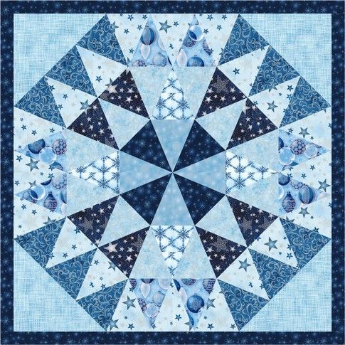 Mini Quilt 2 designed by Robert Kaufman Fabrics. Features Winter's Grandeur by Studio RK, shipping to stores June 2017. FREE pattern will be available for download in February 2017 from robertkaufman.com #FREEatrobertkaufmandotcom