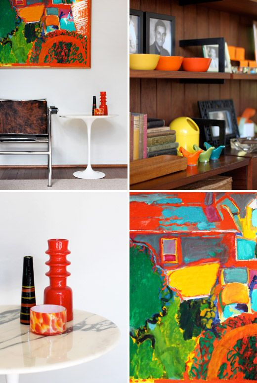 Details from interior designer Annalisa Capurro's home. Sydney, Australia. Bright bolds colours agains brown and white neutrals. Love the mid 20th C collections!