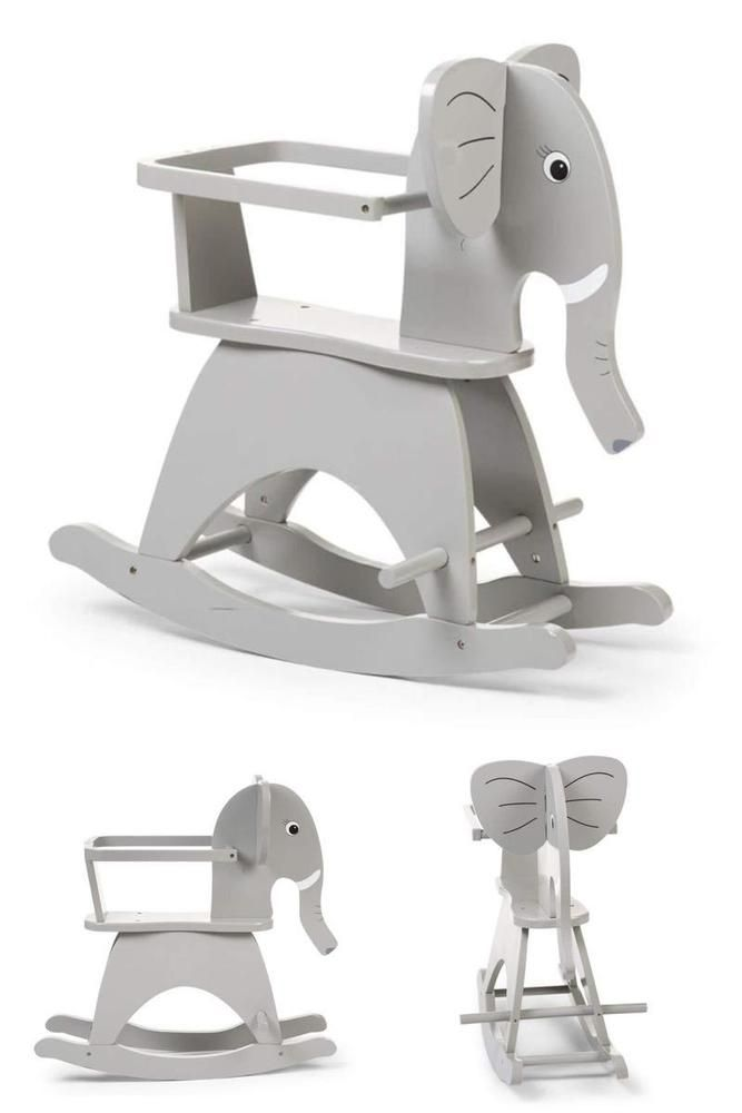 Enjoyable Grey Wooden Rocking Elephant Baby Infant Children Chair Onthecornerstone Fun Painted Chair Ideas Images Onthecornerstoneorg