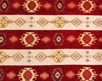 Ethnic Tribal Style Chenille Upholstery Fabric, Aztec Navajo Jacquard Fabric, Geometric Design Kilim Fabric, Red Cream, Ach-045