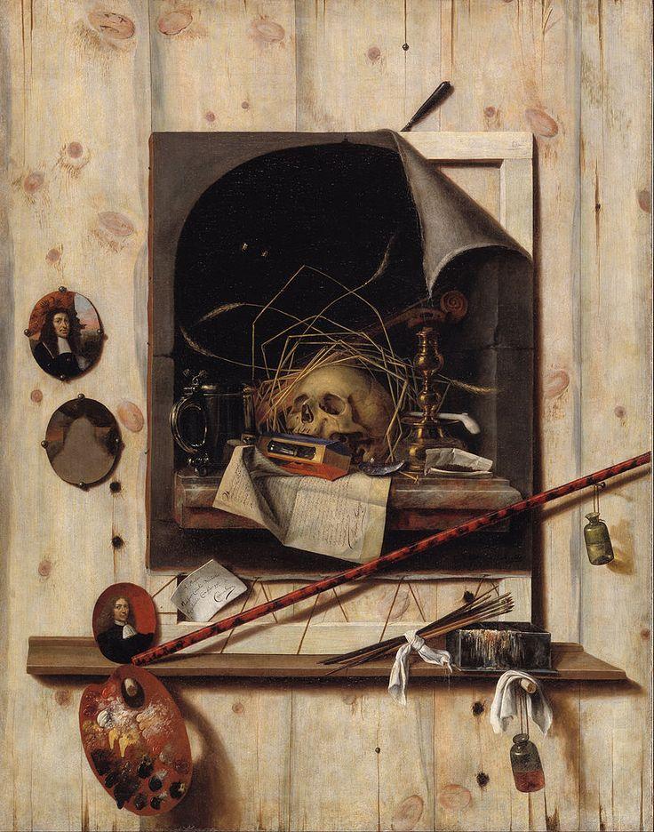 Trompe l'oeil with Studio Wall and Vanitas Still Life — Cornelis Norbertus Gysbrechts