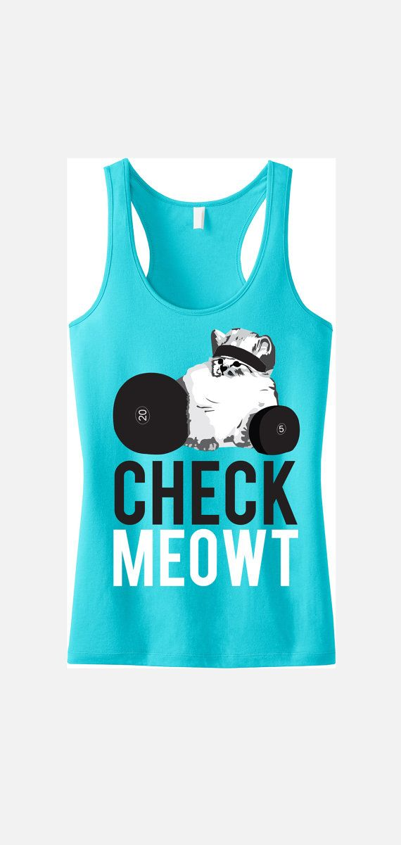 CHECK MEOWT Workout Tank Top, Workout Clothes, Cat Workout Tank, Workout Shirt, Gym Tank, Gym Clothing, Crossfit, Cat on Etsy, $24.99