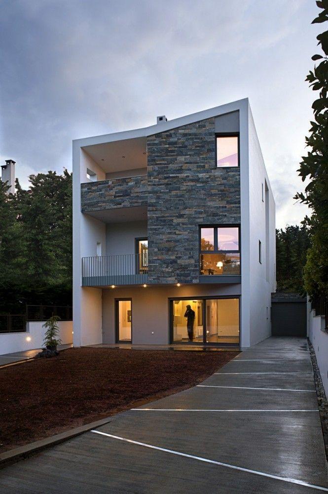 cascading u two family residence athens designed by styliani daouti giorgos mitroulias - Greek Modern Home Architecture Design