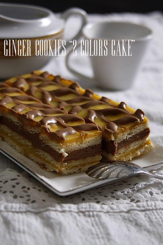 Ginger Cookies: Двуцветна бисквитена торта