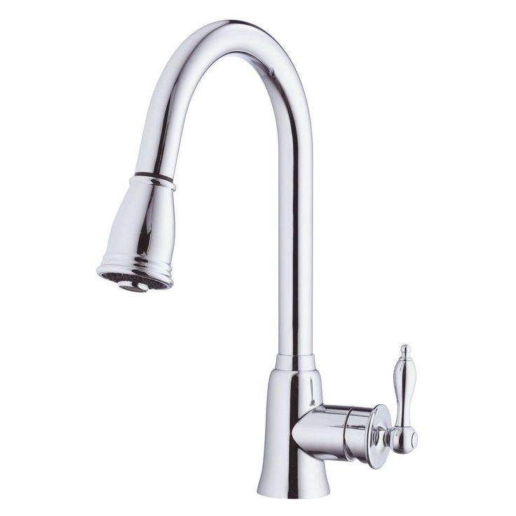 Danze D454510 Prince Single-Handle Pull-Down Sprayer Kitchen Faucet in Chrome   Danze D454510 Prince Single-Handle Pull-Down Sprayer Kitchen Faucet in ChromeFor the serious gourmet, Danze created the Prince single handle pull-down kitchen faucet with a stylish, yet practical pull-down spout that lets you put the water where you need it. The spray head adjusts from a steady, aerated flow to a powerful spray with the touch of a finger to make cleanup easy. And it features our spring retraction…