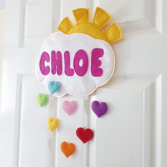 Personalised Door or Wall cloud and rainbow hearts name plaque