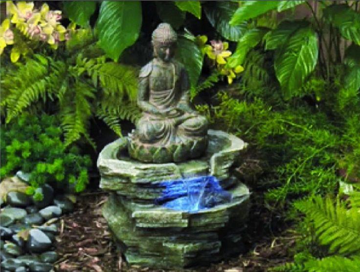 New LED Lighted Serene Buddha Zen Garden Decor Water Fountain Indoor Outdoor