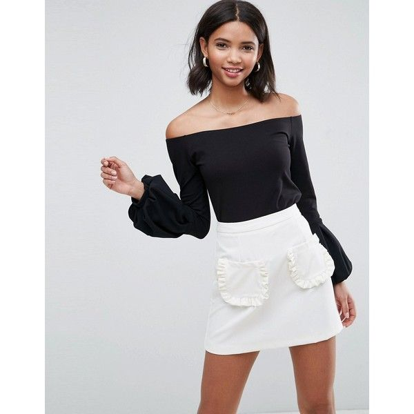 ASOS Off Shoulder Top with Pretty Bell Sleeve ($29) ❤ liked on Polyvore featuring tops, black, asos tops, holiday party tops, night out tops, off shoulder tops and bell sleeve tops