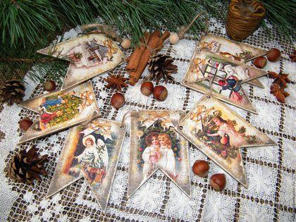 Елочная новогодняя гирлянда из флажков Ангелы Рождества дерево декупаж купить в москве подарок на Новый год и Рождество на Ярмарке Мастеров ручная работа ретро винтаж винтажные открытки