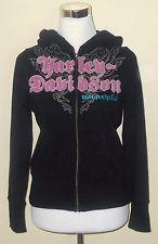Harley Davidson Black Pink Hoodie Zip Up Hooded Sweatshirt Women's size S Small