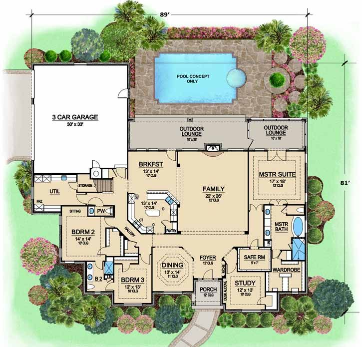 Luxury Style House Plans - 3734 Square Foot Home, 1 Story, 3 Bedroom and 2 3 Bath, 3 Garage Stalls by Monster House Plans - Plan 63-460