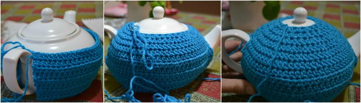 Crochet tea cosy free pattern - will fit any teapot as is crocheted around it.  Uses HDC (half double crochet) and has patterns for flowers to decorate.