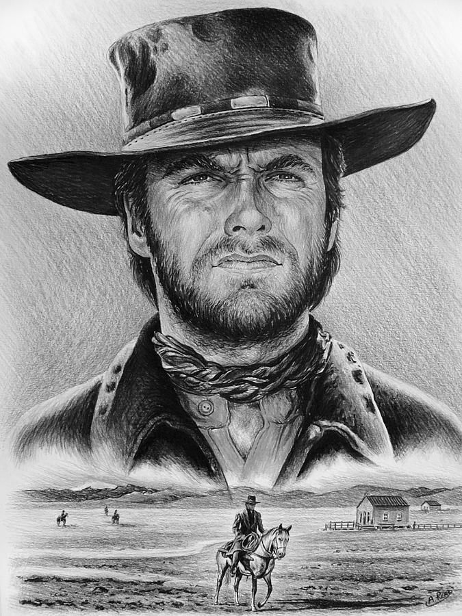 The Stranger Bw 1 Version Drawing - (Clint Eastwood) by artist Andrew Read ...Drawing-Graphite Pencil on Canford Card