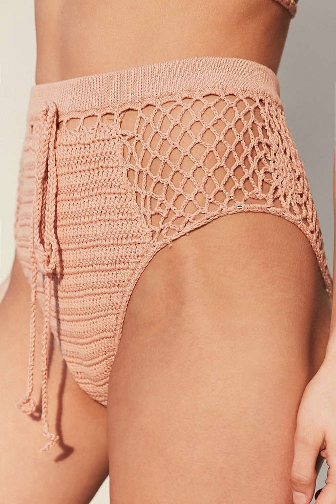 Somedays Lovin Daphne Peach Crochet High-Waisted Bikini Bottoms - Urban…