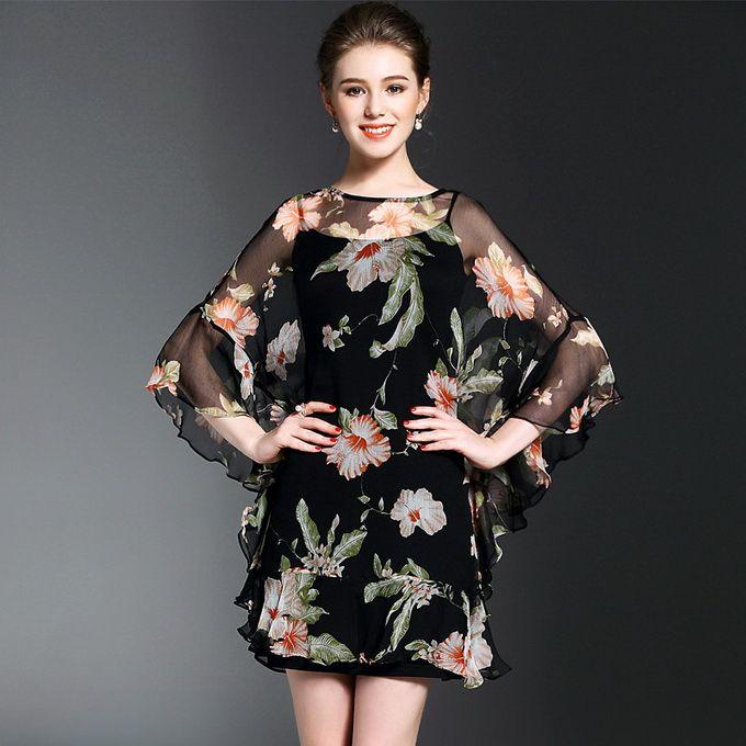 100%Silk!2017 Spring New Fashion Print Dress Women Batwing Sleeve Vintage Floral Print Sexy Above Knee Dress Mini Clubwear
