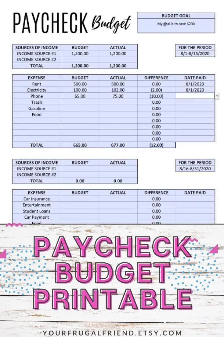 Paycheck To Paycheck Budget Template Zero Based Budget Printable Editable Pdf Bi Monthly Budget In 2020 Monthly Budget Template Paycheck Budget Budgeting