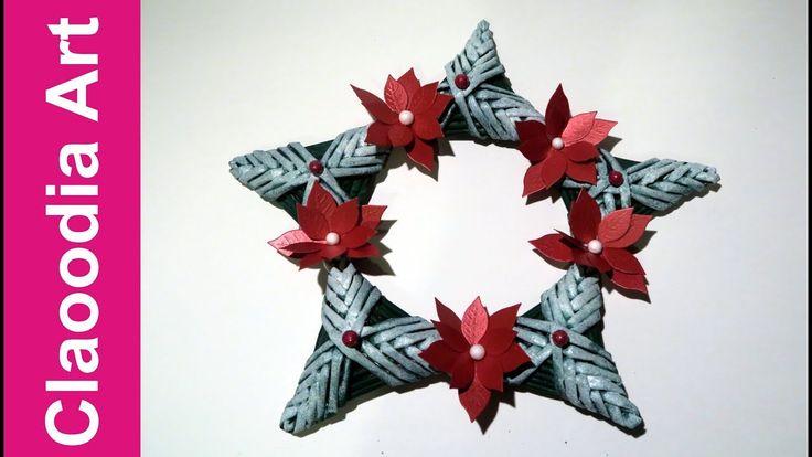 Wreath - star, paper wicker, DIY
