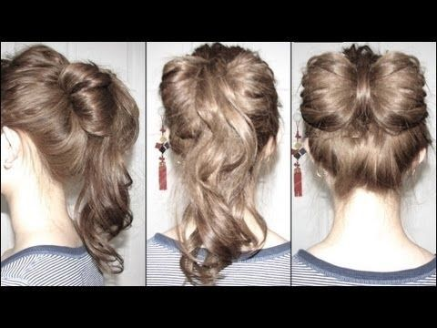 Bow & Ponytail Fusion Updo - 1 Elastic, 0 Pins: Hair Ideas, Fusion Updo, Video Hairstyles, Hair Stylez, Beauty Hair, Hair Styles, Hairmakeup, Hair Bows