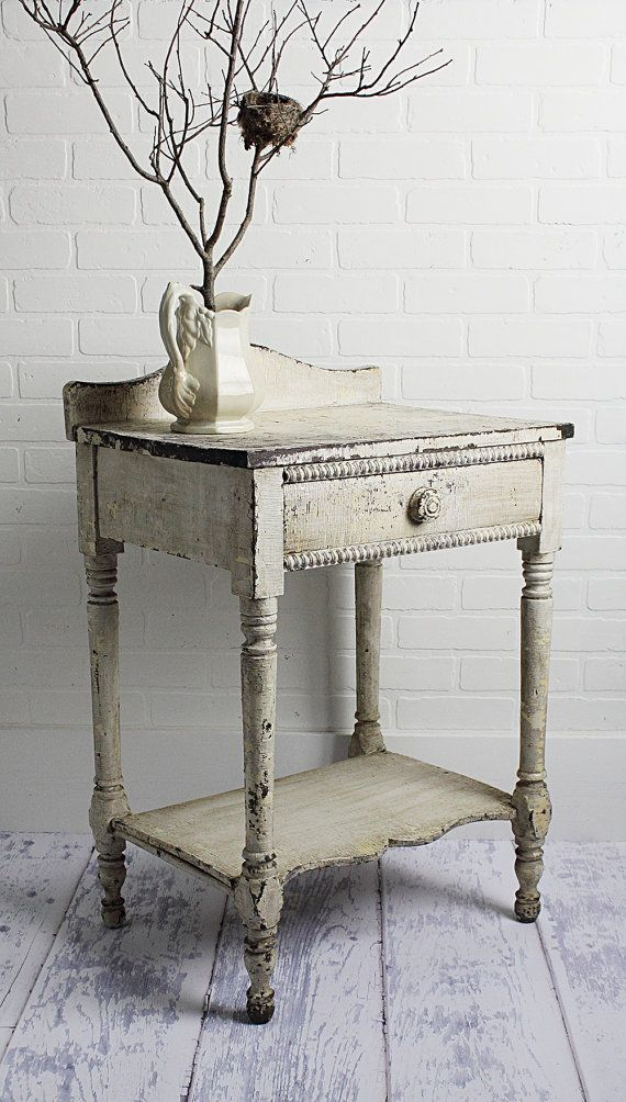 Cottage Chic Table or Wash Stand in Old Chippy by ZinniaCottage
