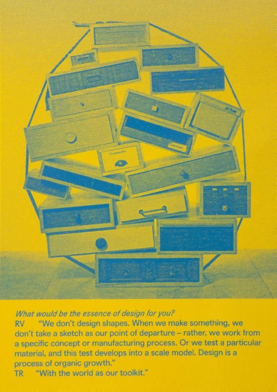 The World = Our Toolkit  Remy & Veenhuizen nemen de vrijheid om alles wat ze tegenkomen als werkmateriaal te beschouwen: de gegevens van een ruimte de beperkingen van een opdracht of het materiaal wat ze tegenkomen. Daar gaan ze mee stoeien. Bij ieder project zoeken ze naar nieuwe aanleidingen en ontwikkelen ze een specifieke manier van denken die vanuit het werken zelf ontstaat. Zo wordt elk project ontworpen vanuit zijn eigen parameters en creëert het zijn eigen beelden. Hun overwegingen…