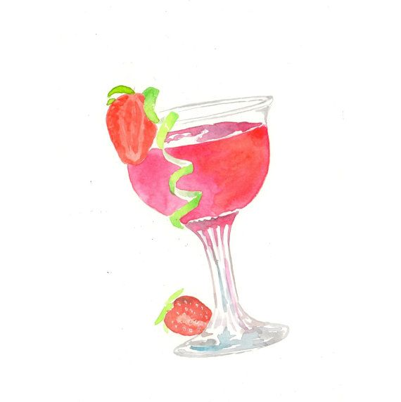 Original watercolor painting strawberry daiquiri for Paint and cocktails