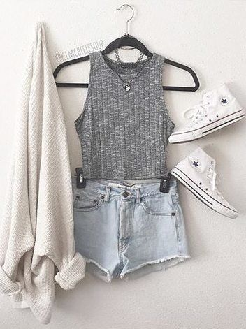 Grey Vest and Shorts via                                                                                                                                                                                 More