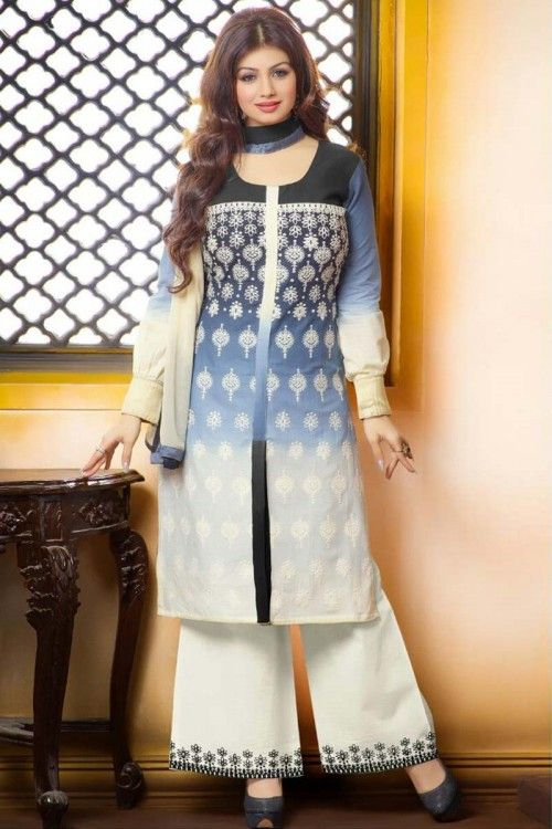 New arrival indian, Trouser cotton indian prom long suits, Ayesha takia Dark Grey and White  embroidered andaaz attire now in shop. Andaaz Fashion brings latest designer ethnic wear collection in UK   http://www.andaazfashion.co.uk/salwar-kameez/trouser-suits/ayesha-takia-dark-grey-and-white-cotton-trouser-suit-dmv14107.html
