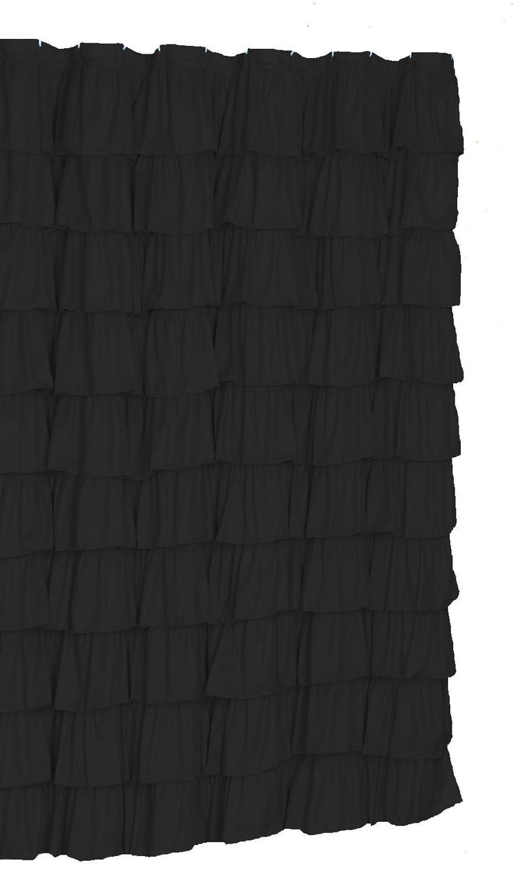 Black bathroom shower curtains - Ruffle Shower Curtain Color Black