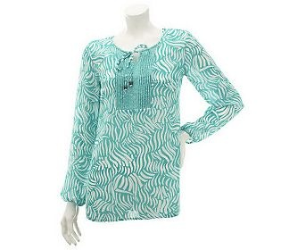 Susan Graver Twin Print Yoryu Chiffon Blouse with Pleat Detail