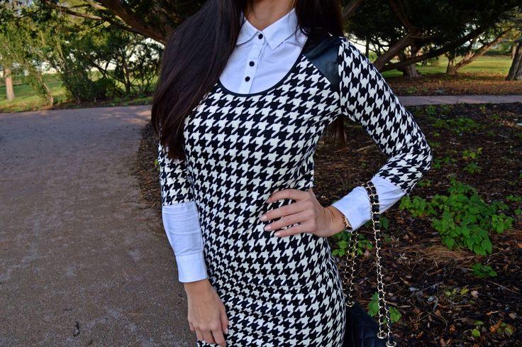 krásná Adrianka v šatech s potiskem kohoutí stopy #modino_cz #Budtein #dogtooth #dress #black&white #beauty #fashion #look