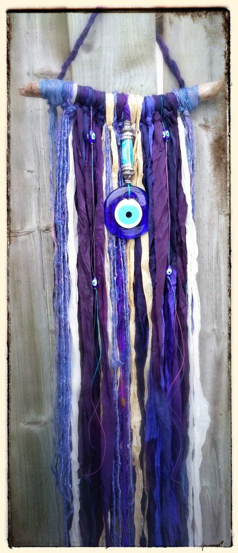 Evil Eye Driftwood Sari Silk Wall Hanging by MysticKeyMeditations