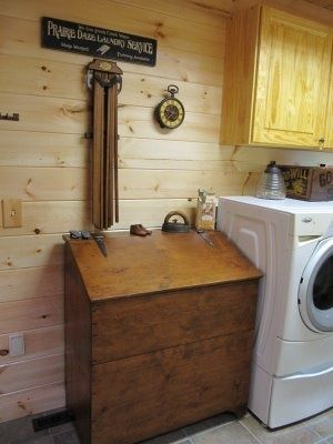 Old wood grain bin... laundry hamper