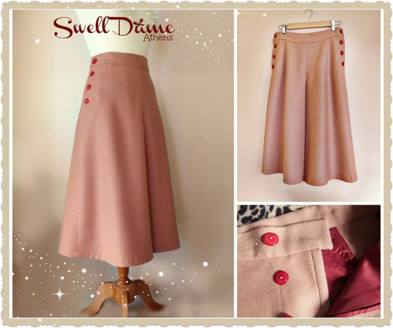 Swell Dame 1950s skirt with side butttons and by SwellDameBoutique