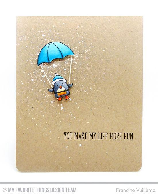Card by Francine (www.1001cartes.ch) karte, carte, carterie, cardmaking, cardmaker,  crafts, papercrafts, handmade, diy, stamping, #1001cartes, mftstamps, #mftstamps, die-namics, cooler with you card kit, winter, parachuting penguin