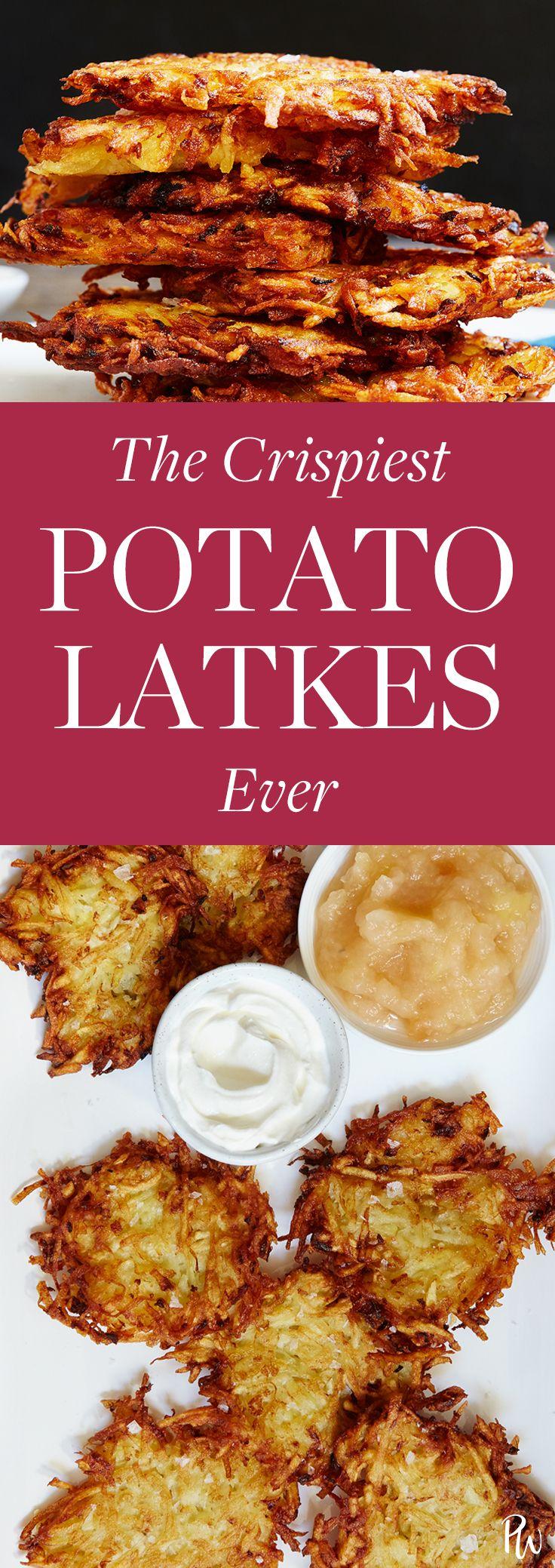 Crispy potato latkes. Get the recipe. #latkes #potatolatkes #hanukkah