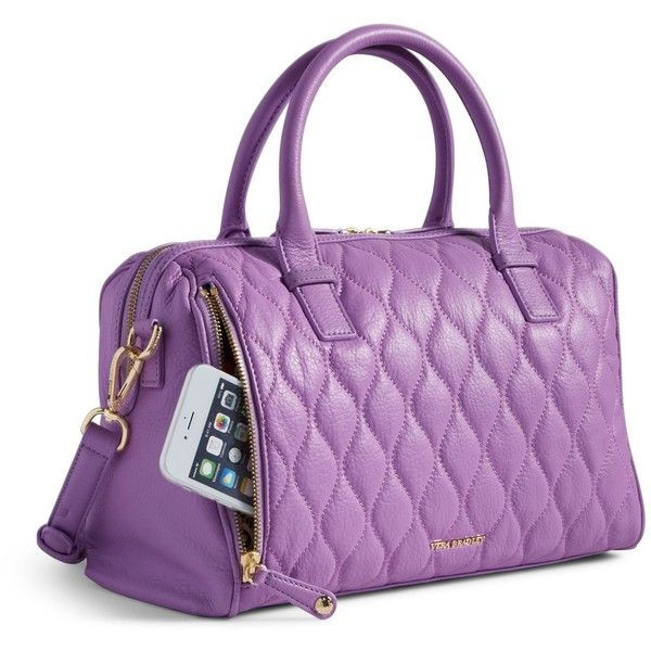 Vera Bradley Quilted Marlo Satchel in Lavender ($129) ❤ liked on Polyvore featuring bags, handbags, lavender, purple leather handbag, leather satchel purse, leather purses, vera bradley purses and quilted leather purse